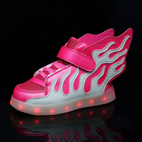 STRONGSHEN Pink 2018 Kids Shoes with LED Lights Children Kids Sneakers with Wing Boys Girls Led Light Up Shoes USB Charging Warm