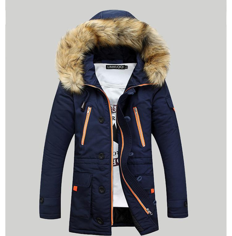 New Brand Pockets Winter Jacket Men Cotton Padded Long Thick Warm Casual Fur Hooded Down Overcoat Parka Homme winter jacket men warm coat mens casual hooded cotton jackets brand new handsome outwear padded parka plus size xxxl y1105 142f