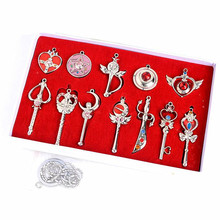 12Pcs Pendant + 1 chain necklace set Bag accessories New Sailor Moon Cosplay Necklace