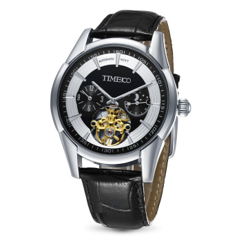 Time100 - Self-Wind Leather Strap - Moon Phase Skeleton