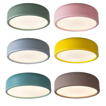 Modern Round LED Ceiling Light Lamp Colorful Lampshade Macarons Ceiling Mounted Lamp For Kitchen Bedroom Foyer Children's Room