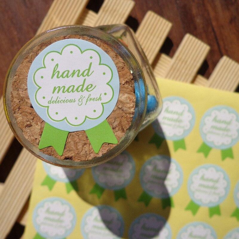 90Pcs Green Hand Made Medal Cake Packaging Sealing Label Kraft Sticker Baking DIY Work Gift Box Round Stickers M1209