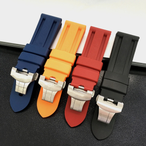 MERJUST 22mm 24mm Black Orange Blue Red Silicone Rubber Whatchband For PAM 44mm Case Watch Strap with Butterfly Buckle engraving
