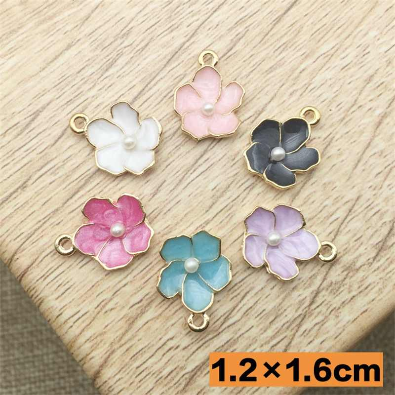 High quality 5pcs/lot Colorful Flowers Charms Pendant Jewelry Charms Alloy Charm Metal Bracelet Charms DIY 12mm*16mm