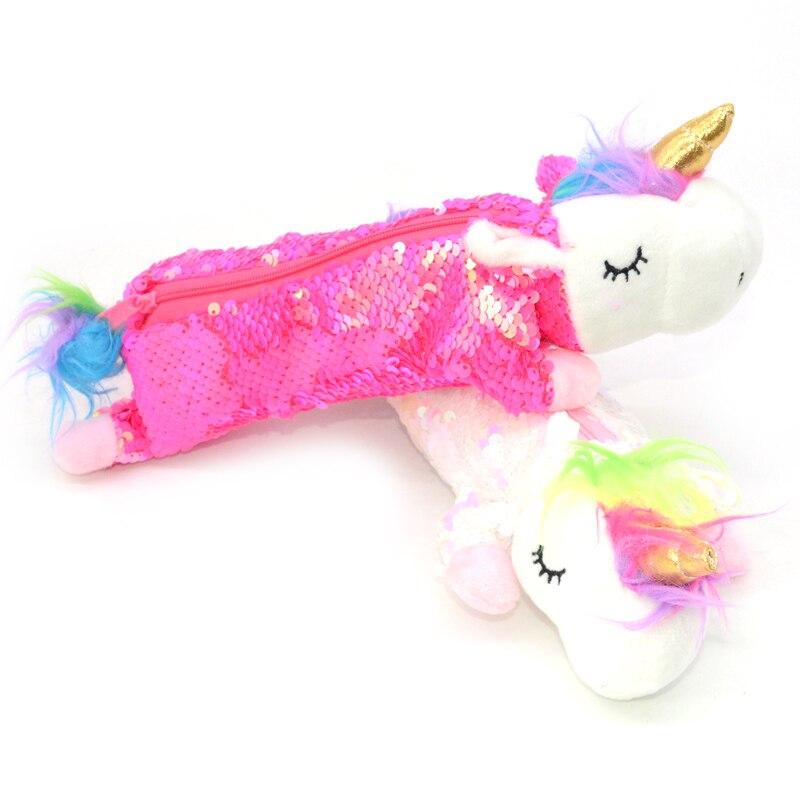 Sequin Pencil Case Crayon Licorne Astucci Estuches Lapices Plush Girls Unicorn Etui Pennen Kawaii School Supplies Kalem Kutusu