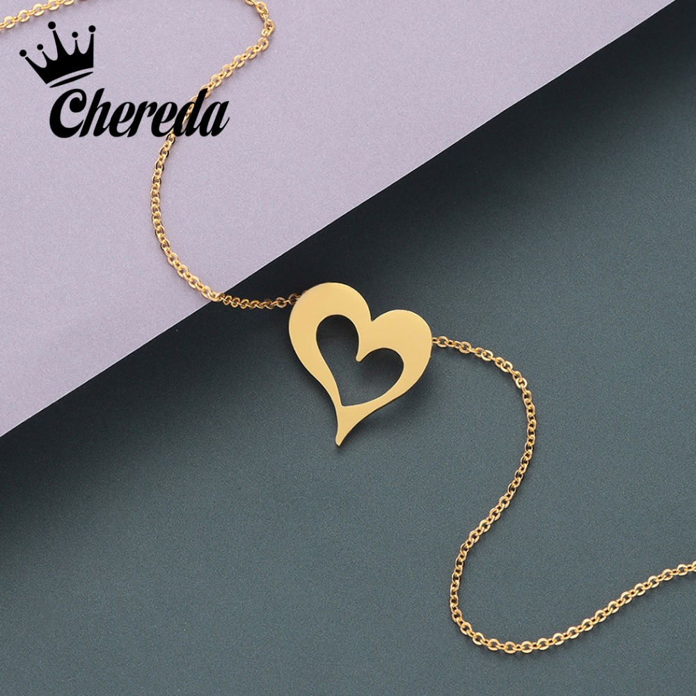 Chereda Simple Family Heart Baby Stainless Steel Necklaces for Women Silver Fashion Pendant Necklace Jewelry Mothers Day Gifts