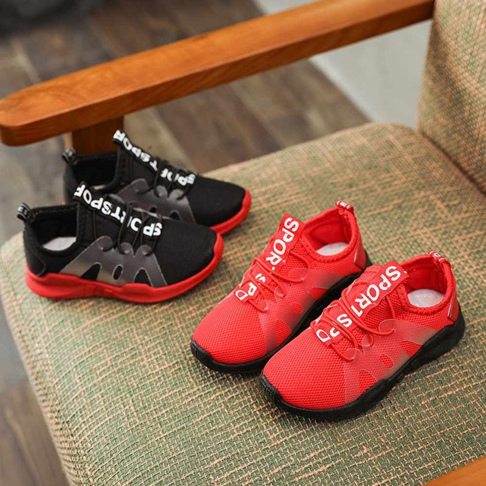 Детская обувь для девочек и мальчиков; Повседневная модная спортивная обувь с надписью; однотонные мягкие спортивные кроссовки для бега; дышащие Нескользящие Детские кроссовки