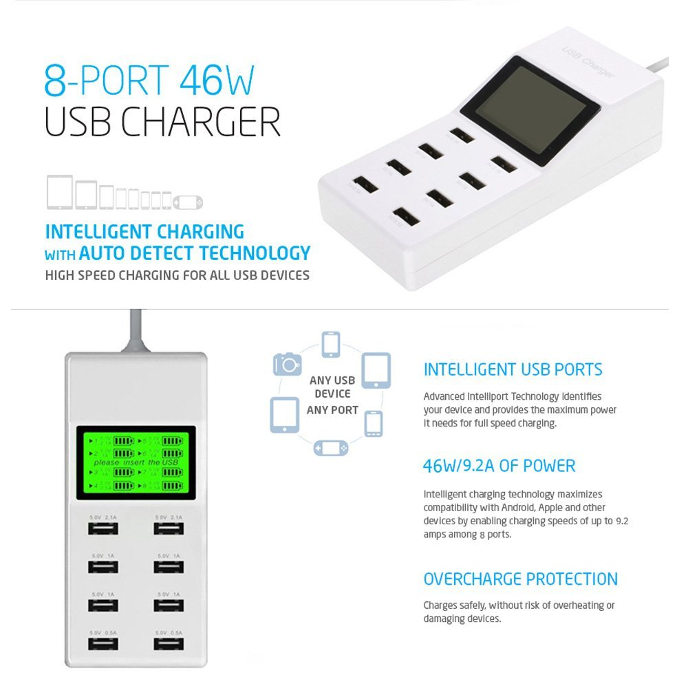 8 Port USB Charger LED Display Screen 46W AC Socket USB Wall Charger for iPhone Samsung for iPad tablet PC Smart phone