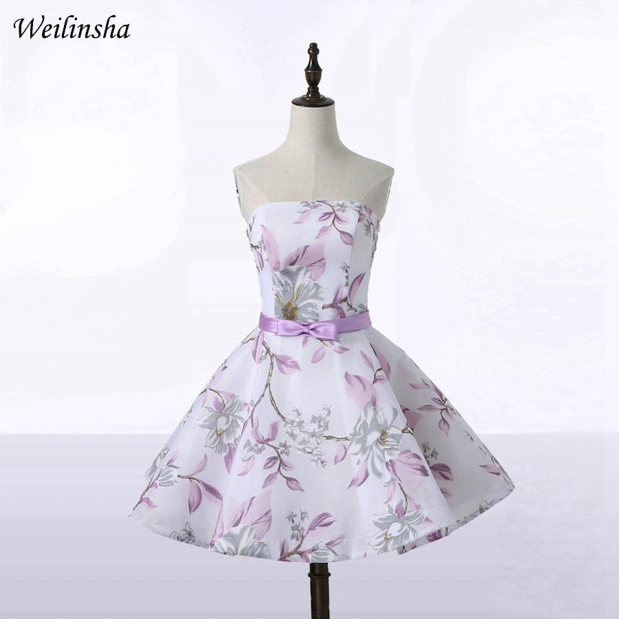 Weilinsha/новый стиль, вечерние платья трапециевидной формы с цветочным принтом без бретелек, вечерние платья