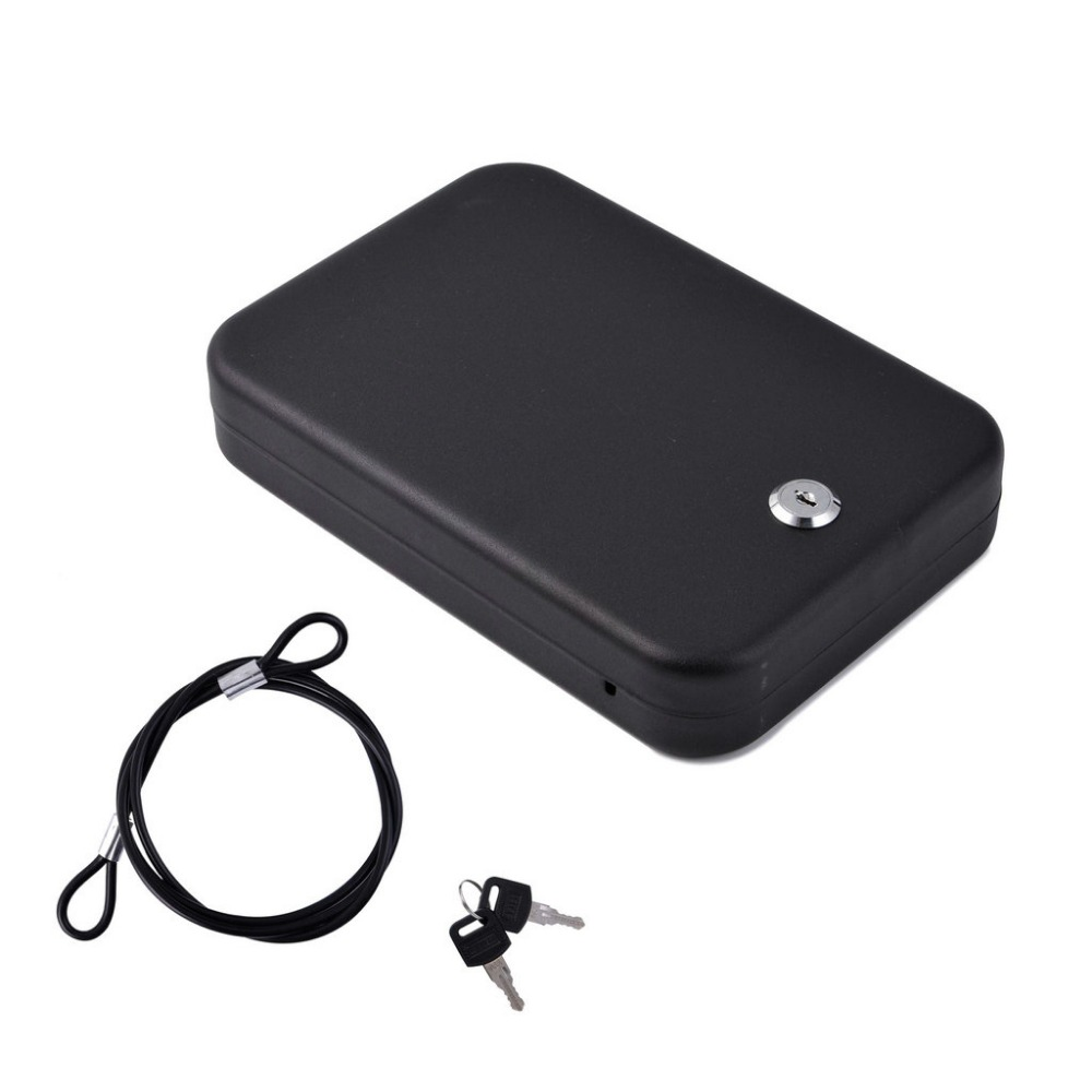 Security Safes Key Lock Portable Car Safe Box Handgun Valuables Money Jewelry Storage Box Strongbox Cold-rolled Steel Sheet