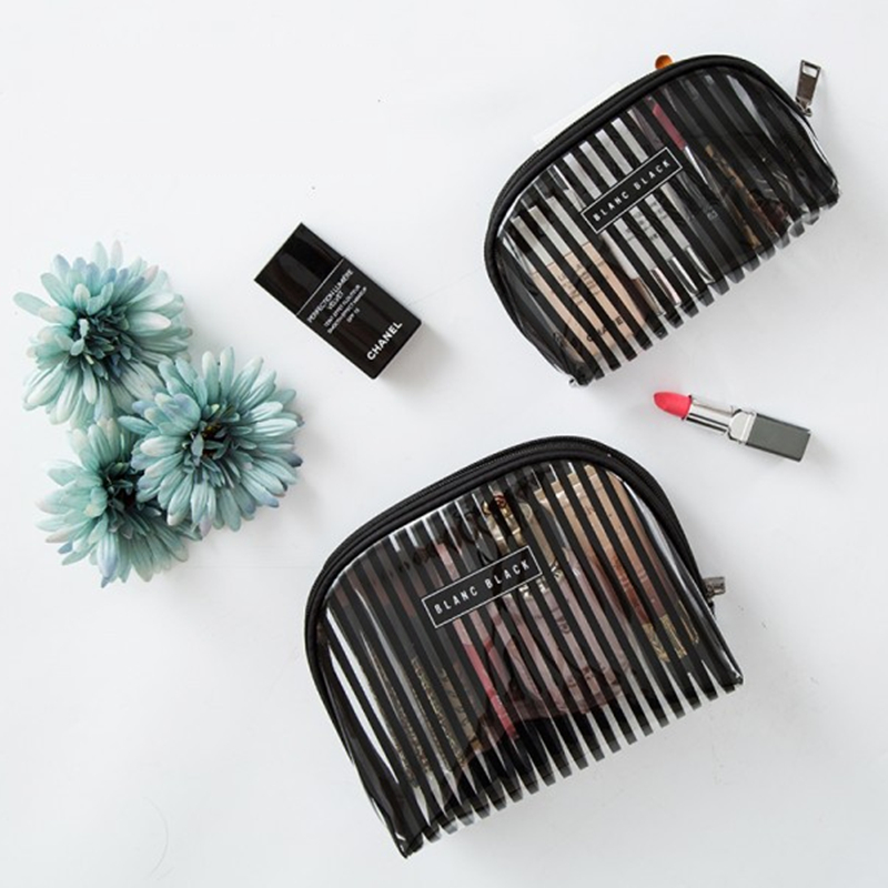 Fashion Stripe Women Cosmetic Pouch Travel Makeup Organizer Hand Bag Waterproof Make up Brush Case Beauty Bag