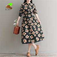2018 New Autumn Art Retro Long Thin Corduroy Printed Flower Slim Dress Women Spring Cotton Vintage