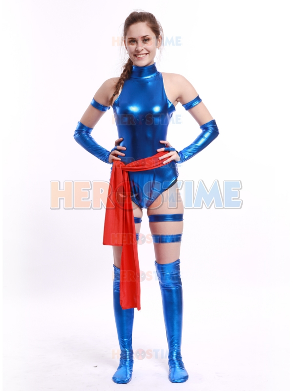 Blue Shiny Female Ninja Costume Cosplay Comic Tight Sexy Lady Zentai suit Halloween Party Costume With Belt