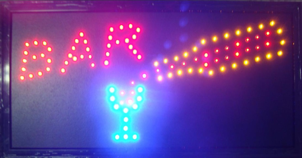 2017 direct selling custom indoor 10*19 inch Ultra Bright flashing LED Bar store neon Light Sign boards
