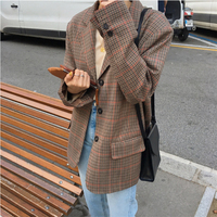 Vintage Brown Plaid Jacket Blazer for Women Fashion Full Sleeve Coat Women Elegant Single Breasted Female Jacket Suits Outwear