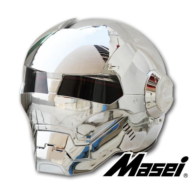 Masei Bike Scooter Moto Electroplate Silvery Iron Man Helmet