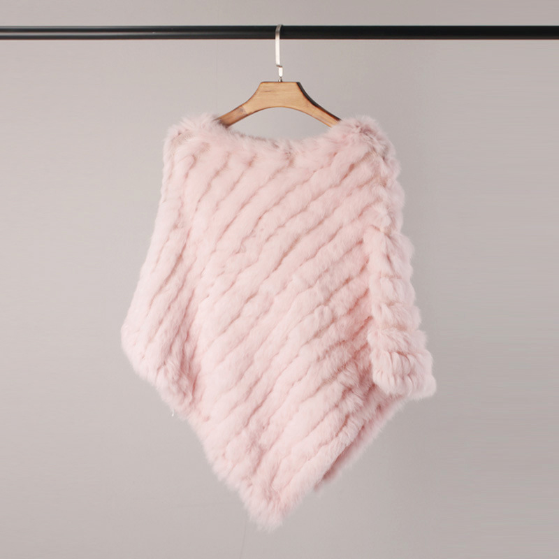 Women Spring Autumn Knit Genuine Rabbit Fur Poncho Scarves Real Natural Rabbit Fur Shawl Pashmina Triangle Cape