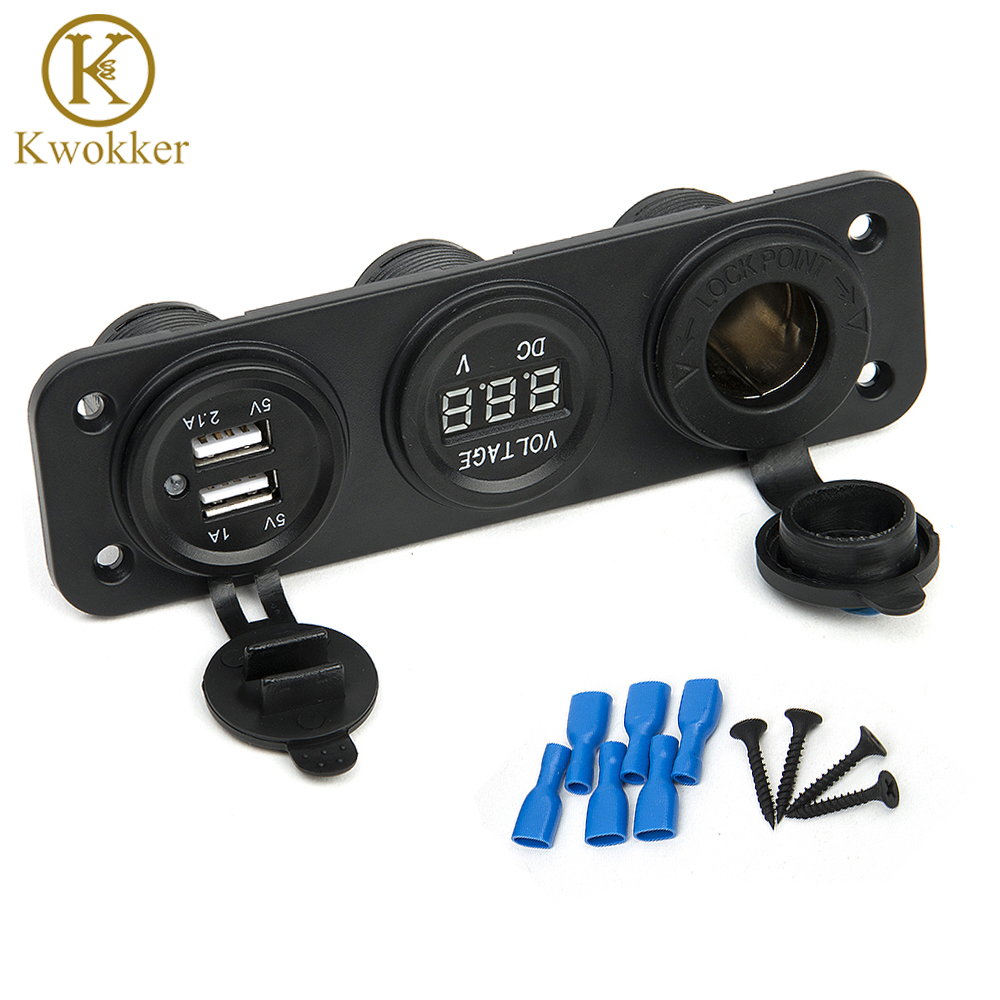 DC <font><b>12V</b></font> <font><b>USB</b></font> Socket Splitter <font><b>Motor</b></font> Car DC Digital Voltmeter 3 Hole Panel Power Socket/Dual <font><b>USB</b></font> Car Electronics Cigarette Lighter image