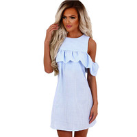 Loose Short Butterfly Sleeve Ruffles T Shirt Dress Women Summer 2017 Beach Casual Straight Mini Sundress