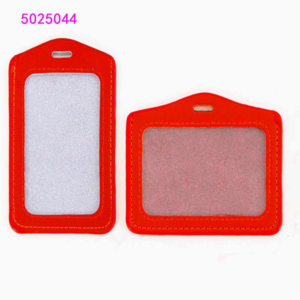 619 PU Leather  card sleeve ID Badge  Bank Credit Card Badge Holder Accessories Reels Key Ring Chain Clips School student office
