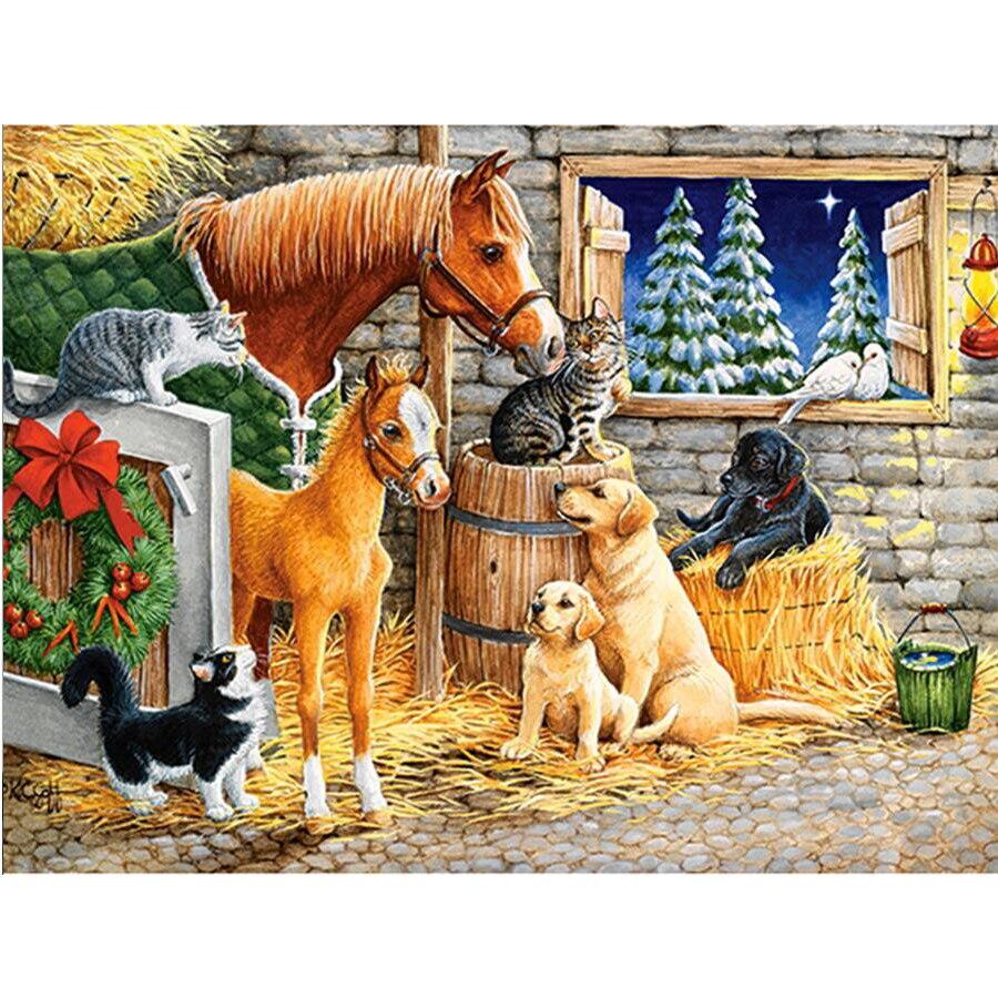 Animales 5d DIY diamante pintura gato, perro, caballo cristal granja ...
