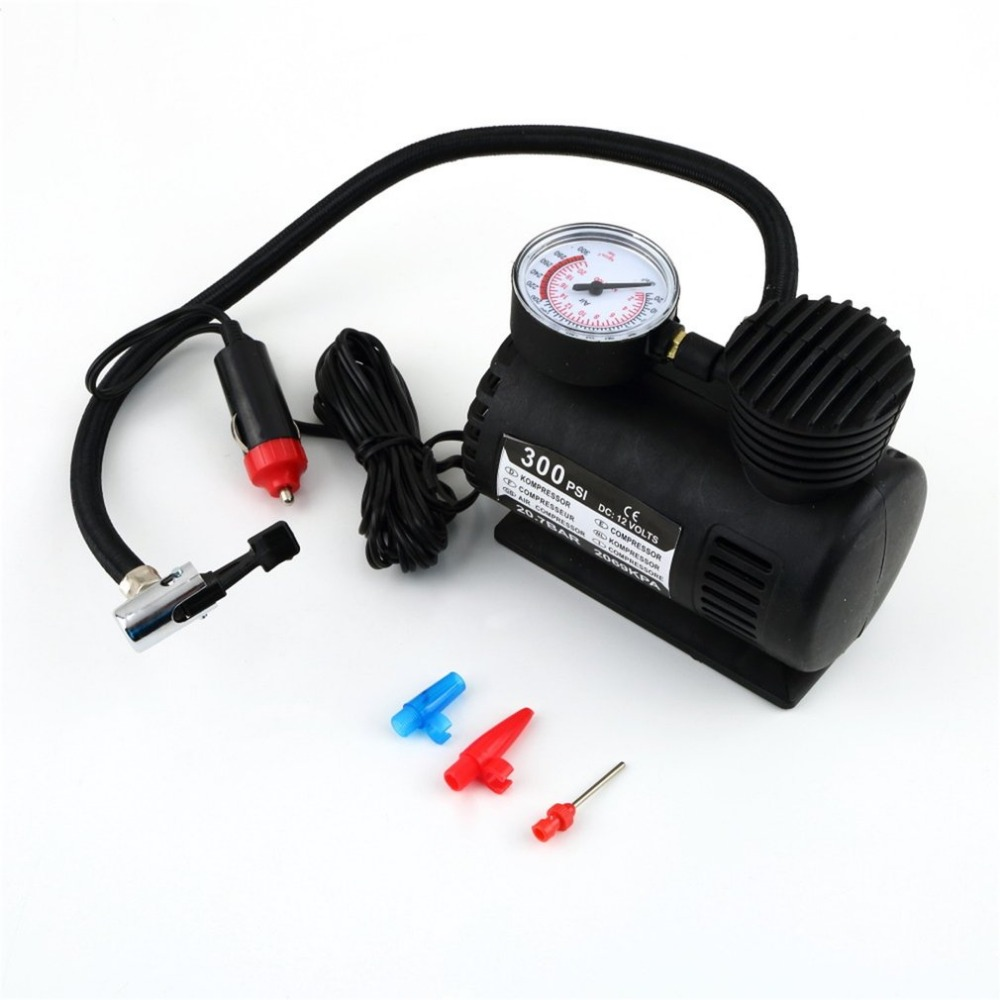 Black Portable Versatile 12V 300PSI Car Tire Tyre Inflator Pump Mini Compact Compressor Pump Car Bike Tyre Air Inflator