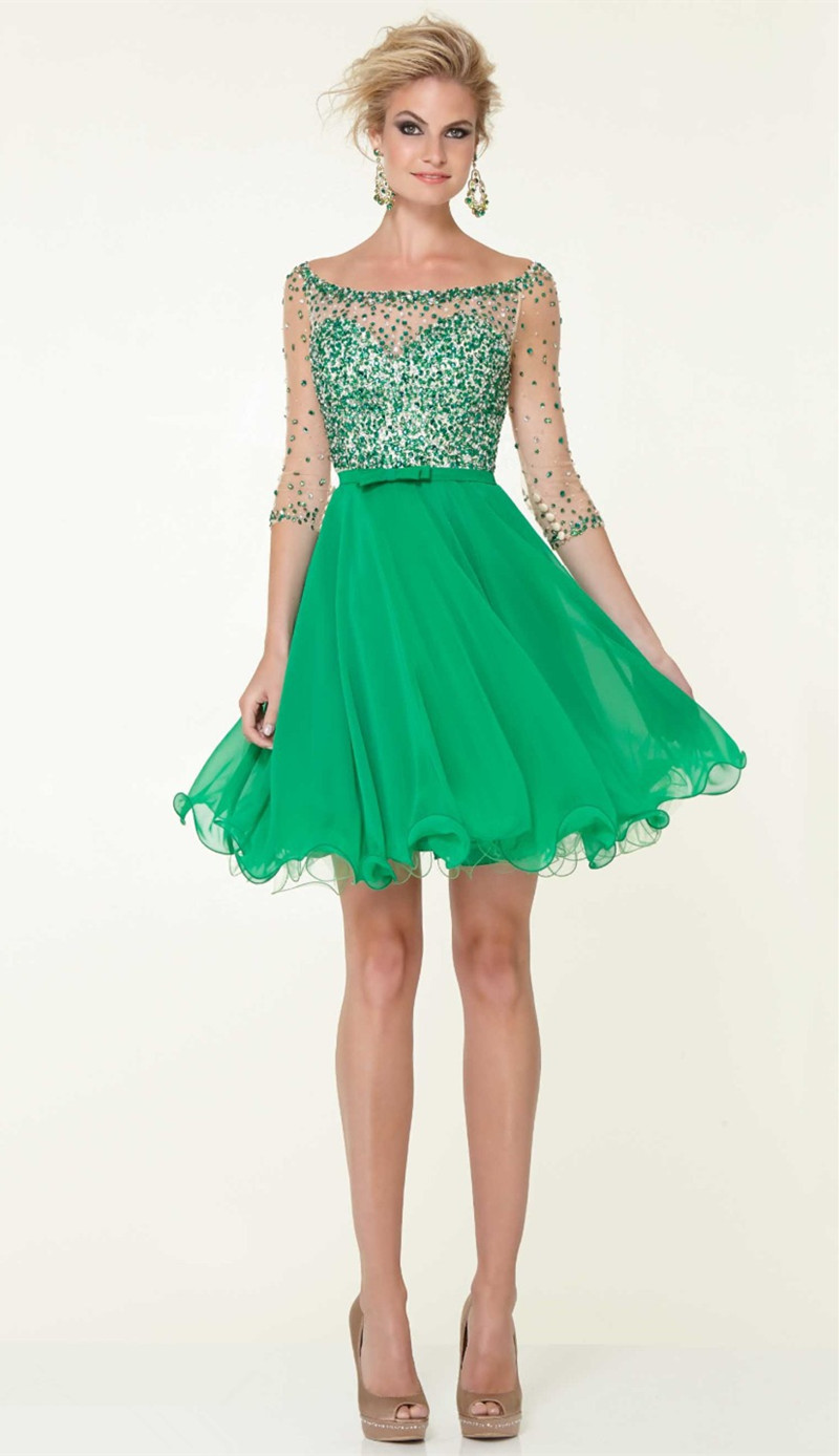 8th Grade Prom Dresses 2016 Sheer Crystal Beaded Mini Dress Green ...