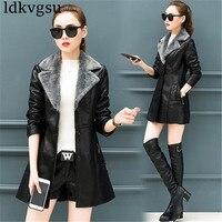 Leather Women Thick Long section Coat 2019 Autumn Winter New Korean Slimming Plus Velvet PU Leather Windbreaker Jacket v349