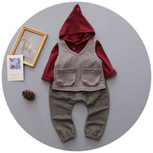 England Style Fashion Kids 2016 3PCS Sets Kids Boys Ropas Infantil Children Suit For Boys Infant Toddler Boy Clothing