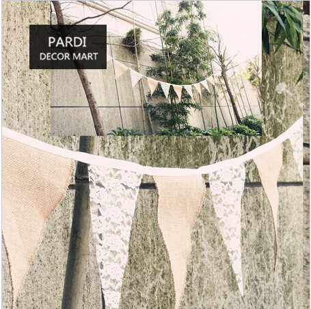 Diy Hemp Fabric And Lace Flag Banner Party Garland Bunting Country Wedding Decor Linen Cloth