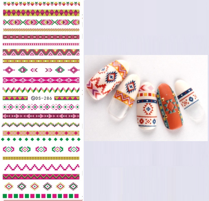 DS286 DIY Water Transfer Foils Nail Art Sticker Fashion Design Colorful Stripe Manicure Decals Minx Nail Decorations Tools 12x sexy colorful full cover nail art polish sticker metal adhesive foils patch diy beauty nail art tools y stzj 18