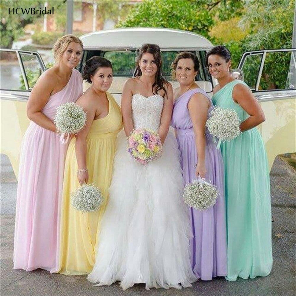 Custom Made One Shoulder Chiffon   Bridesmaid     Dresses   2019 High Quality A Line Floor Length Long Maid Of Honor   Dress   Cheap