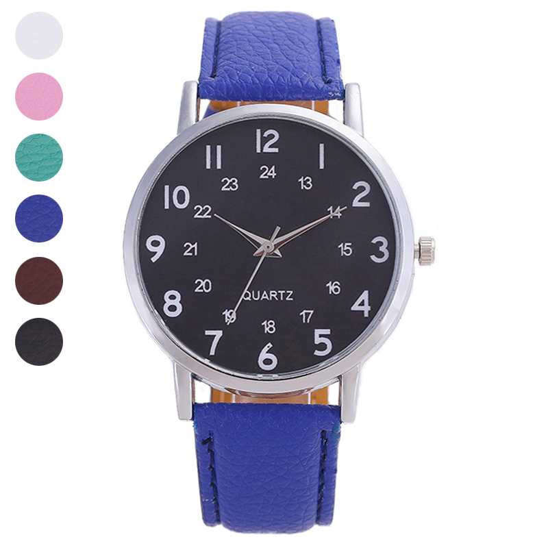 Student Wrist Quartz Watch PU Strap Round Alloy Case Stainless Steel Casual Fashion Gift LL@17