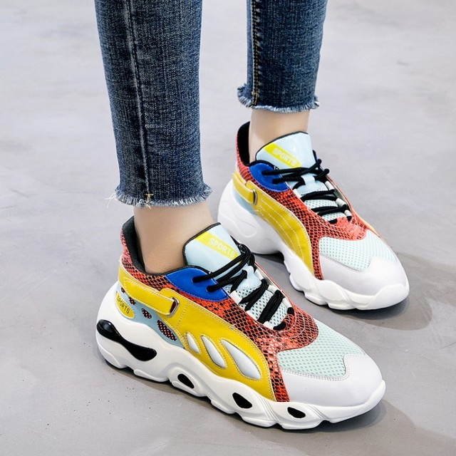 4bbba029aed Popular Color Blocking Platform Sneakers Lady Casual Shoes Comfortable  Walking Shoes 2019