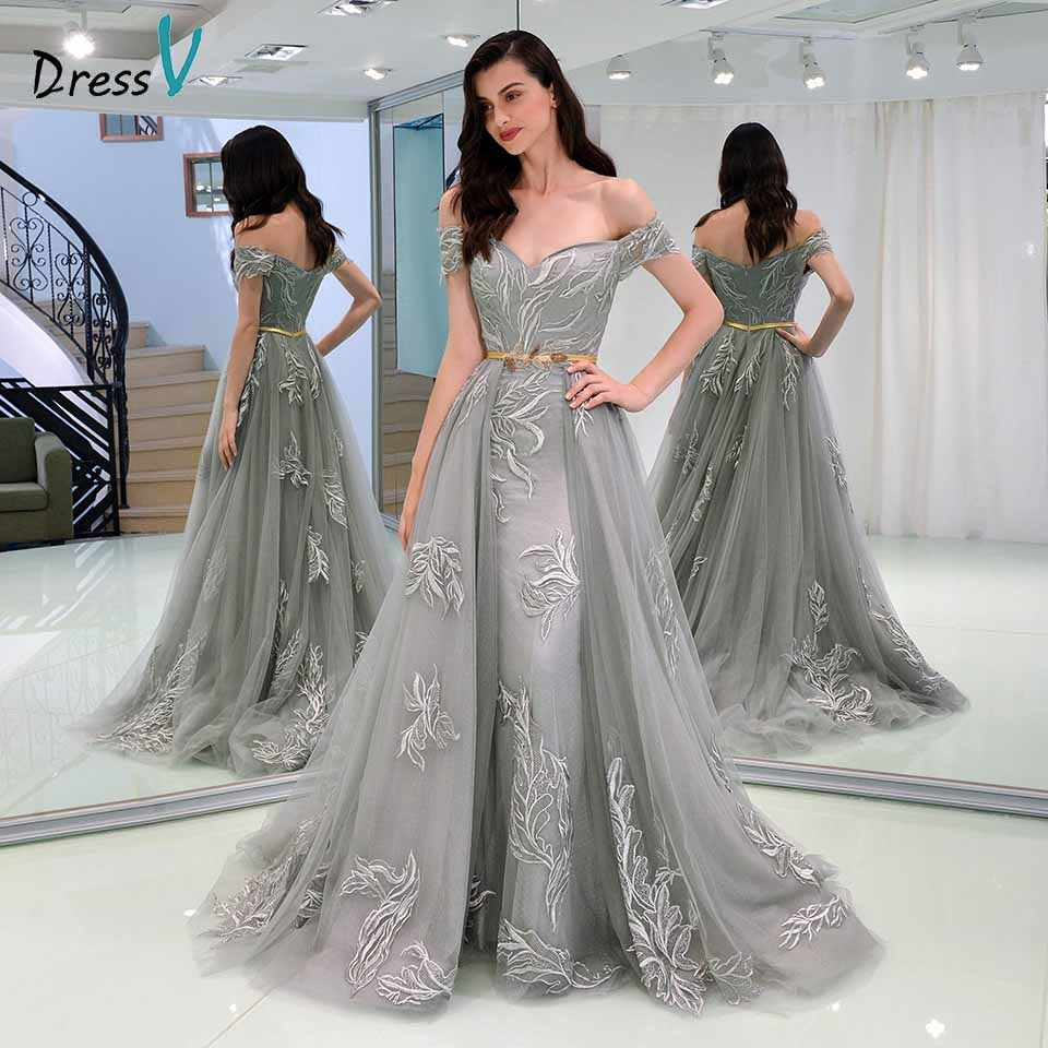 386a326ed7 Dressv gray evening dress off the shoulder sheath appliques sashes ...