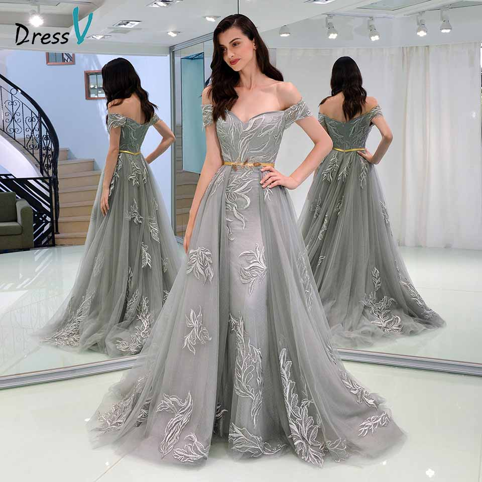 Dressv gray evening dress off the shoulder sheath appliques sashes ...