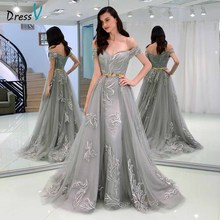 Dressv gray evening dress off the shoulder sheath appliques sashes floor-length wedding party formal dresses