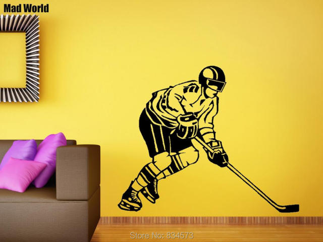 Mad World Ice Hockey Extreme Sport Boys Silhouette Wall Art Sticker ...