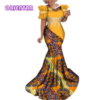 Fashion African Dresses Women Long Party Dress Traditional African Print White Pearl Lace Flower Bazin Riche Lady Dress WY284