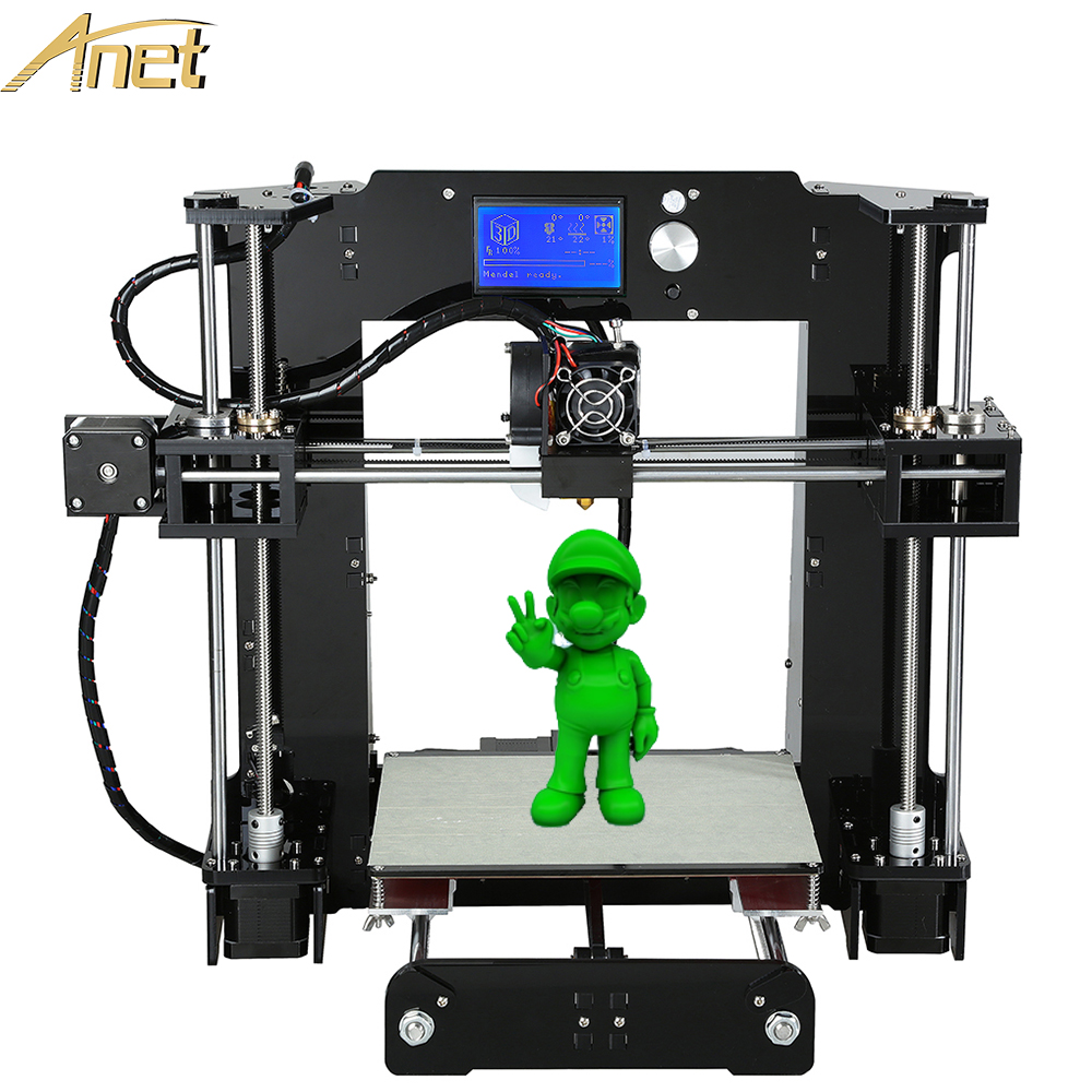 High Quality Aluminium Extrusion Anet A8 A6 3d-printer Easy Assemble Reprap 3D printer Kit DIY With Free Filaments Gift anet a8 a6 3d printer high precision reprap diy 3d printer kit easy assemble with 12864 lcd screen display free filament