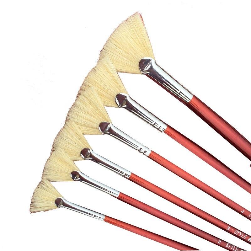 6 шт., красные кисти для рисования акварелью и маслом