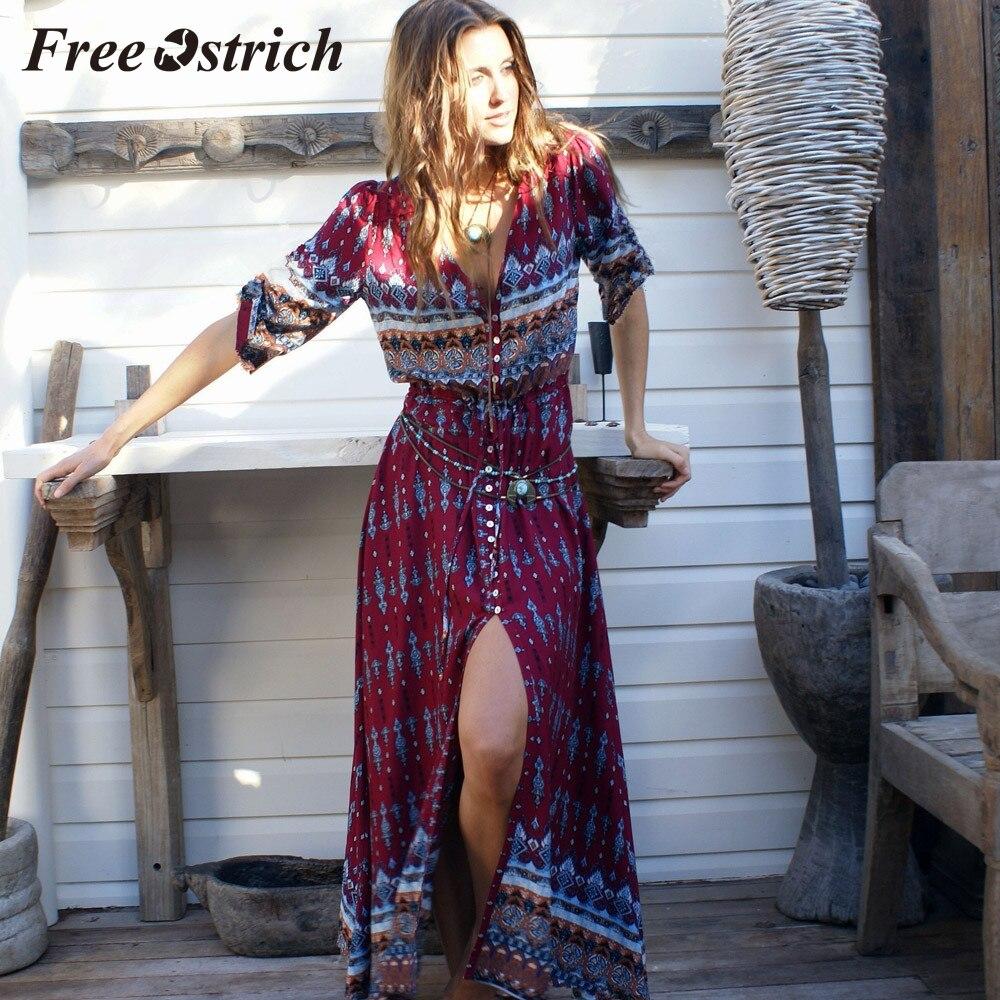 44541b2a1192a Free Ostrich 2019 Women Summer Bohemian Tunic Floral Party Beach Long Maxi  Dress Sundress Half Sleeve Spaghetti Strap Long Dress