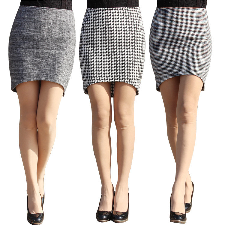 5b3db16a2d9 Estilo de primavera / otoño gris a cuadros faldas de las nuevas mujeres  ocasionales lápiz minifalda Saia Midi mujeres falda Saia feminina 4XL en  Faldas de ...
