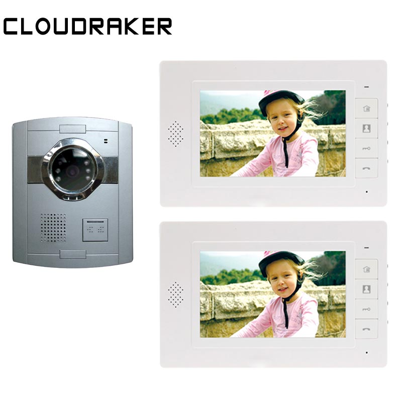 CLOUDRAKER  Video Door Phone Door Bell Intercom System 2x 7 Inch Monitor with 1x Silver Doorbell Video Intercom UnlockCLOUDRAKER  Video Door Phone Door Bell Intercom System 2x 7 Inch Monitor with 1x Silver Doorbell Video Intercom Unlock