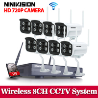 Plug And Play 8CH Wireless NVR CCTV System 1TB HDD P2P 720P HD 4 Array Outdoor