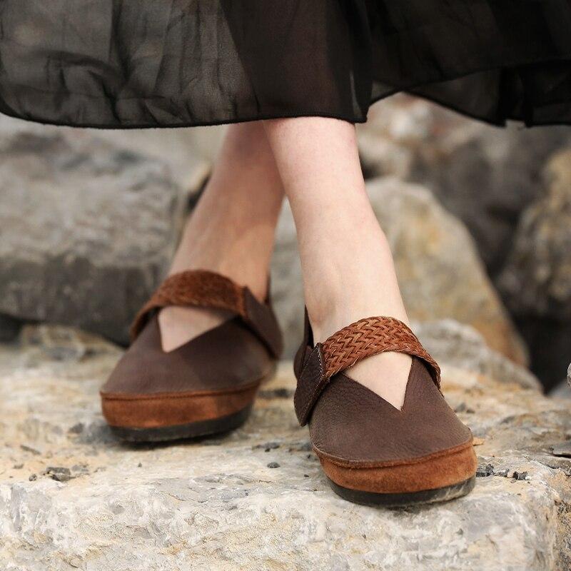Nouvelle Compensé Mode Talon Profonde Sen Tissé Peu Confortables En Marron Cuir Femmes Bouche Chaussures Chaussures Art De chocolat À qqdw84