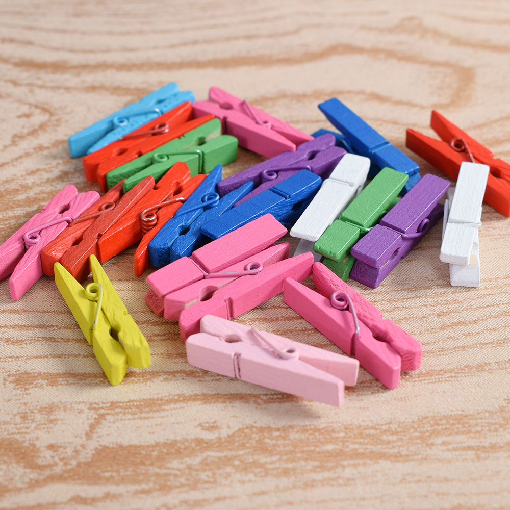 10Pcs/Lot Mini Wooden Clothes Pin Paper Craft Clips Scrapbook Clothespin Photo Paper Clips Hooks DIY Gadgets Colorful Clothespin