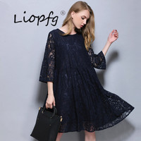 2017 Summer New Women Lace Fat MM Large Size In The Long Section Of The Sleeves