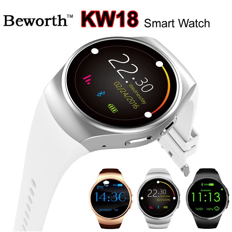 KW18 Bluetooth Smart Watch Phone Heart Rate Monitor MTK2502C SIM TF Sports Smartwatch Watches for Gear 2 Android iOS Women Men fashion heart rate monitor smart watch sim tf smartwatch android 2 5d ogs touch screen smart wristwatch bluetooth facebook buit