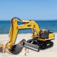 HUINA 1510 RC 2.4G 11CH Metal Remote Control Engineering Digger Truck Model Toy